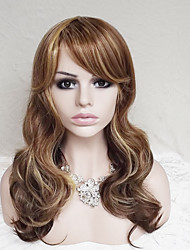 cheap -Synthetic Wig Wavy Deep Wave Deep Wave Wavy Asymmetrical With Bangs Wig Long Strawberry Blonde / Light Blonde Synthetic Hair Women's Highlighted / Balayage Hair Natural Hairline Brown