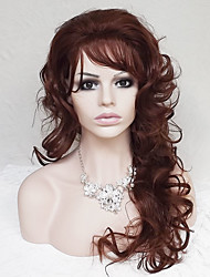 cheap -Synthetic Wig Curly Deep Wave Deep Wave Asymmetrical With Bangs Wig Long Dark Auburn Synthetic Hair Women's Natural Hairline Brown