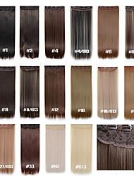 Недорогие -Прямой Классика Искусственные волосы 22 дюймы Наращивание волос Клип во / на Жен. Повседневные