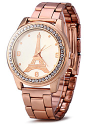 cheap -Women's Wrist Watch Quartz Rose Gold Plated Stainless Steel Gold / Rose Gold Cool Imitation Diamond / Analog Ladies Sparkle Eiffel Tower Simulated Diamond Watch Fashion - Golden Rose Gold One Year