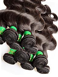 Недорогие -Уток Расширения человеческих волос Естественные кудри Не подвергавшиеся окрашиванию Натуральные волосы Человека ткет Волосы Индийские волосы 10-28 дюймовый Жен. Черный / 10A