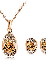 cheap -Women's Crystal Jewelry Set Stud Earrings Pendant Necklace Heart Love Ladies Fashion Zircon Cubic Zirconia Rhinestone Earrings Jewelry For Daily Casual / Necklace / Earrings