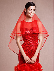 cheap -One-tier Lace Applique Edge / Pencil Edge Wedding Veil Elbow Veils with Ribbon Tie Tulle / Oval