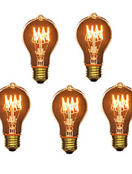 cheap -5pcs 40W E26 / E27 A60(A19) Warm White 2300k Retro / Dimmable / Decorative Incandescent Vintage Edison Light Bulb 220-240V
