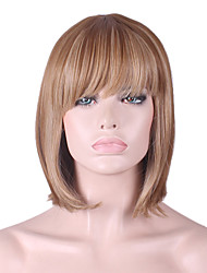 cheap -Synthetic Wig Straight kinky Straight kinky straight Straight Bob With Bangs Wig Medium Length Synthetic Hair Women's Natural Hairline Brown