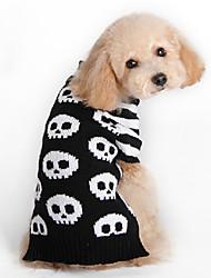cheap -Cat Dog Sweater Winter Dog Clothes Black Costume Woolen Skull Fashion Halloween XXS XS S M L