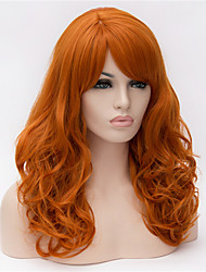 cheap -Synthetic Wig Wavy Minaj Wavy Asymmetrical Wig Blonde Medium Length Long Orange Synthetic Hair Women's Natural Hairline Blonde