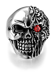 cheap -Men's Statement Ring Silver Titanium Steel Party / Evening Designer Punk & Gothic Gift Daily Jewelry Engraved Mexican Sugar Skull Cool