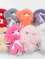 Недорогие -8 ПК / серия mixcolor ключевой цепи обезьяны ювелирные изделия высокого качества меха кролика Pom Pom брелка помпон куклы очарование