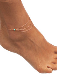 cheap -Anklet Barefoot Sandals Dainty Unique Design Boho Women's Body Jewelry For Party Daily Turquoise Emerald Turquoise Alloy