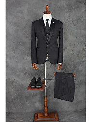 cheap -Black Pattern Tailored Fit Polyester Suit - Notch Single Breasted One-button / Pattern / Print / Suits
