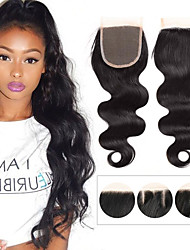 cheap -1 piece 4 x4 brazilian body wave lace weave closure hair 100 remy hair bleached knots top closures