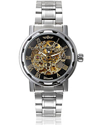 cheap -WINNER Men's Skeleton Watch Wrist Watch Mechanical Watch Automatic self-winding Stainless Steel Silver Hollow Engraving Analog Charm - Silver