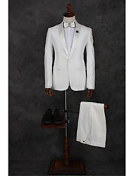 cheap -White Pattern Tailored Fit Polyester Suit - Peak Single Breasted One-button / Suits