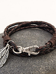 cheap -Leather Bracelet Layered Rope Stacking Stackable Feather Bohemian Fashion Boho Multi Layer Native American Leather Bracelet Jewelry Brown / Red / Black / White For Christmas Gifts Daily Casual