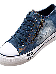 cheap -Women's Denim Spring / Summer / Fall Comfort Wedge Heel Zipper / Lace-up Dark Blue / Light Blue
