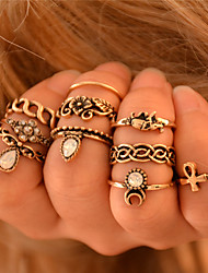 cheap -Knuckle Ring Golden Silver Synthetic Gemstones Elephant Flower Animal Ladies Personalized Unusual 10pcs One Size / Women's / Rings Set