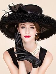 Недорогие -перья органза факсимиляторы шляпы головной убор классический женский стиль