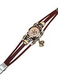 Недорогие -Жен. Часы-браслет Кварцевый Японский кварц Кожа Белый / Коричневый Повседневные часы Аналоговый Винтаж - Коричневый