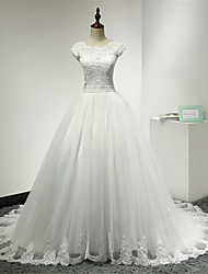 cheap -Ball Gown Scoop Neck Chapel Train Lace Over Tulle Cap Sleeve Made-To-Measure Wedding Dresses with Lace / Sash / Ribbon / Ruffle 2020