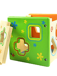 cheap -Colorful Direct Environmental Intelligence Box Shape Matching Building Blocks Wooden Educational Toys Infant Toys