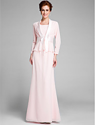 cheap -Mermaid / Trumpet Mother of the Bride Dress Convertible Dress Scoop Neck Floor Length Chiffon Long Sleeve with Sash / Ribbon 2021
