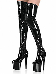 cheap -Women's Heels / Boots Over-The-Knee Boots Stiletto Heel Zipper Patent Leather Over The Knee Boots Club Shoes Spring / Summer / Fall Black / Rainbow / White / Wedding / Party & Evening / EU41