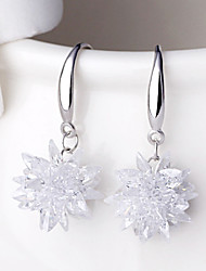 cheap -Women's Crystal Earrings Flower Ladies Punk Fashion Druzy Sterling Silver Silver Earrings Jewelry White For Wedding Party Daily Casual Sports