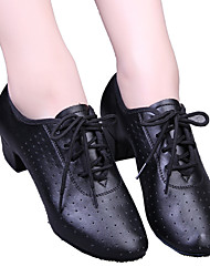 cheap -Women's Modern Shoes / Ballroom Shoes Leatherette Lace-up Heel Lace-up / Hollow-out Low Heel Dance Shoes Black / Red / EU39