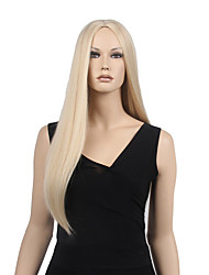 cheap -Synthetic Wig Straight Straight Middle Part Wig Blonde Long Blonde Synthetic Hair 24 inch Women's With Ponytail Blonde