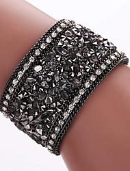 cheap -Synthetic Diamond Wrap Bracelet Leather Bracelet Bohemian Fashion Boho Folk Style Leather Bracelet Jewelry Blue / Golden / Black / Gray For Party Daily Casual / Imitation Diamond