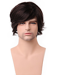 cheap -Human Hair Wig Short Wavy With Bangs Wavy Side Part Capless Men's Dark Brown / Dark Auburn Beige Blonde / Bleach Blonde Strawberry Blonde / Bleach Blonde
