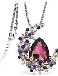 cheap -Women's Crystal Pendant Necklace faceter Ladies Double-layer Fashion Synthetic Gemstones Crystal Alloy Purple Blue Necklace Jewelry For Party Daily Casual Work