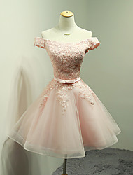 cheap -Ball Gown Off Shoulder Short / Mini Organza / Lace Bodice Bridesmaid Dress with Appliques / Bow(s) / Sash / Ribbon