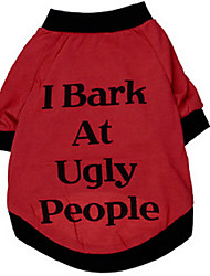 cheap -Dog Shirt / T-Shirt Dog Clothes Red Costume Large Dog Cotton Letter & Number Fashion XL XXL XXXL XXXXL