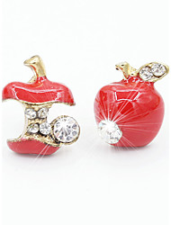 cheap -Women's Stud Earrings Apple Cheap Ladies Fashion Cute Rhinestone Earrings Jewelry Red / Green For Daily Casual Office & Career