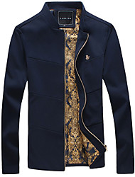 cheap -Men's Daily / Sports Fall / Winter Regular Jacket, Solid Colored Long Sleeve Polyester Black / Navy Blue / Wine