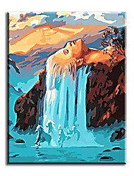 cheap -Art Home Decor Hand Painted Oil Painting White Hair Waterfall with Stretched Frame Ready to Hang