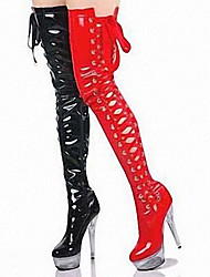 cheap -Women's Boots Over-The-Knee Boots Stiletto Heel / Platform Crystal / Lace-up Patent Leather Thigh-high Boots Fashion Boots / Club Shoes / Lucite Heel Spring / Fall / Winter Black / Red / Pink / EU40