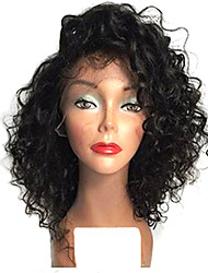 cheap -Human Hair Full Lace Wig Bob With Bangs style Brazilian Hair Curly Wig with Baby Hair Natural Hairline African American Wig 100% Hand Tied Women's Short Medium Length Human Hair Lace Wig