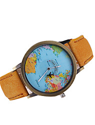 cheap -Men's Wrist Watch World Map Quartz Japanese Quartz Leather Black / White / Brown Casual Watch World Map Pattern Analog Charm Classic Dress Watch - Red Green Blue One Year Battery Life / Tianqiu 377