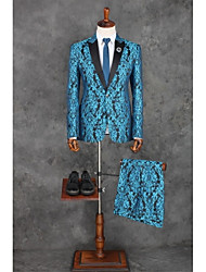 cheap -Ocean Blue Pattern Tailored Fit Polyester Suit - Peak Single Breasted One-button / Pattern / Print / Suits