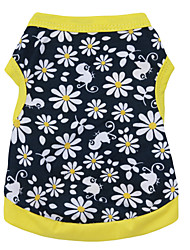 cheap -Cat Dog Shirt / T-Shirt Puppy Clothes Floral Botanical Fashion Dog Clothes Puppy Clothes Dog Outfits Breathable Black / Yellow Costume for Girl and Boy Dog Cotton XS S M L