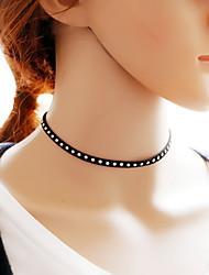 Недорогие -Жен. Ожерелья-бархатки Татуировка Choker Тату-дизайн Мода Кружево Ткань Черный Ожерелье Бижутерия Назначение Повседневные