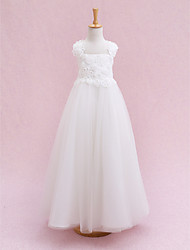 cheap -Ball Gown Ankle Length Wedding / First Communion Flower Girl Dresses - Tulle Sleeveless Straps with Flower / Bandage
