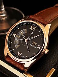 cheap -YAZOLE Men's Wrist Watch Quartz Leather Black / Brown Casual Watch Analog Charm Classic Dress Watch fancy - Black Brown One Year Battery Life / SSUO 377