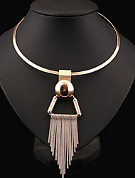 cheap -Women's Choker Necklace Statement Necklace Tassel Bib Statement Ladies Tassel European Sterling Silver Alloy Silver Golden Necklace Jewelry For Party Daily Casual