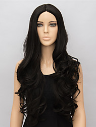 cheap -Synthetic Wig Body Wave Kardashian Style Middle Part Wig Black Synthetic Hair 24 inch Women's Middle Part Black Wig Long