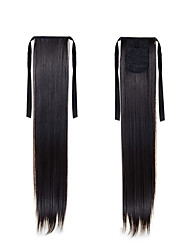 cheap -new ponytail hairpieces 22inch 55cm long straight high temperature hair 2 natural black synthetic ponytail