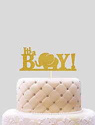 cheap -Cake Topper Beach Theme Classic Theme Funny & Reluctant Card Paper Baby Shower with Bowknot 1 OPP